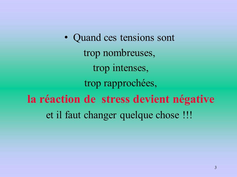 Quand ces tensions sont trop nombreuses, trop intenses, trop rapprochées, la réaction de stress devient négative et il faut changer quelque chose !!!