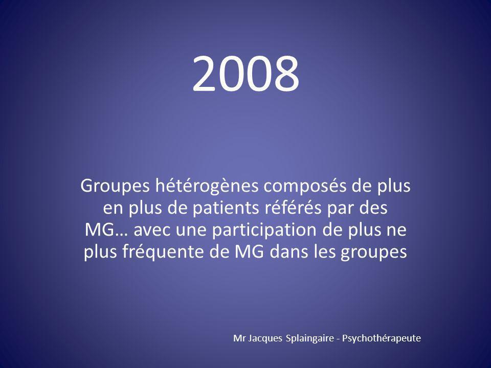 Groupes hétérogènes composés de plus en plus de patients référés par des MG… avec une participation de plus ne plus fréquente de MG dans les groupes M