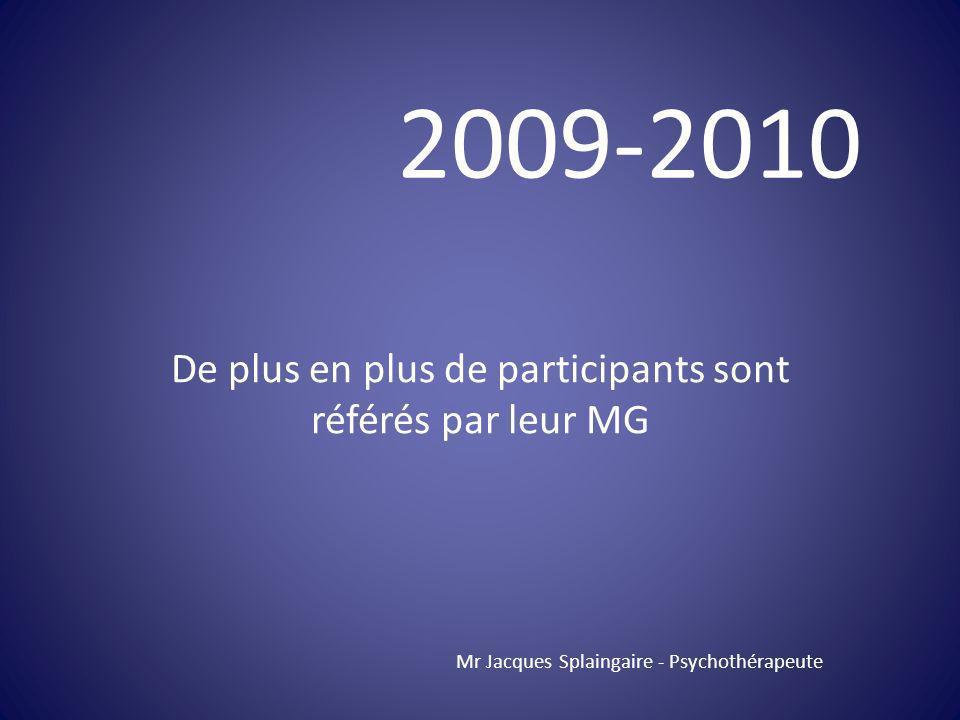 De plus en plus de participants sont référés par leur MG Mr Jacques Splaingaire - Psychothérapeute 2009-2010