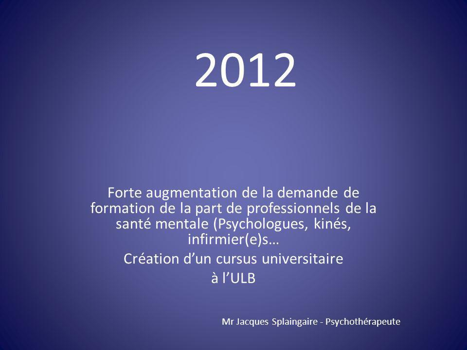 Forte augmentation de la demande de formation de la part de professionnels de la santé mentale (Psychologues, kinés, infirmier(e)s… Création dun cursu