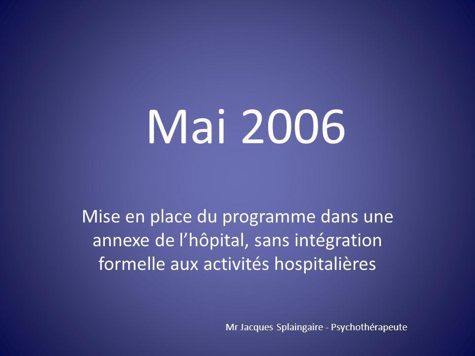 Mise en place du programme dans une annexe de lhôpital, sans intégration formelle aux activités hospitalières Mr Jacques Splaingaire - Psychothérapeut