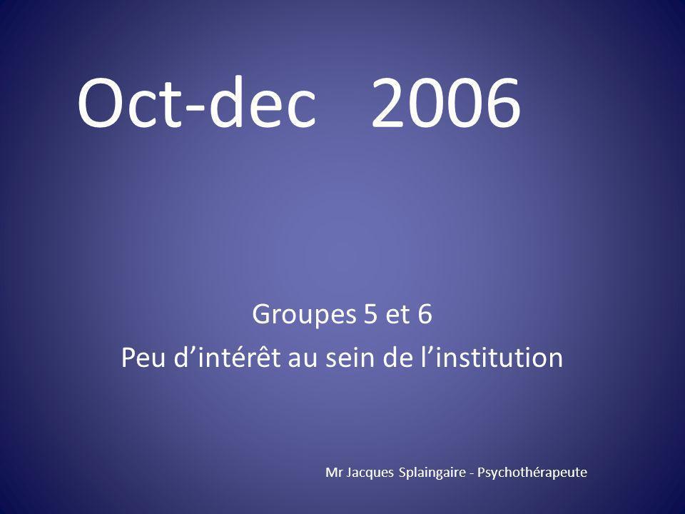 Groupes 5 et 6 Peu dintérêt au sein de linstitution Mr Jacques Splaingaire - Psychothérapeute Oct-dec 2006