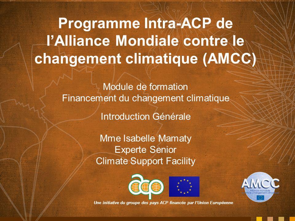 Une initiative du groupe des pays ACP financée par lUnion Européenne Programme Intra-ACP de lAlliance Mondiale contre le changement climatique (AMCC) Module de formation Financement du changement climatique Introduction Générale Mme Isabelle Mamaty Experte Senior Climate Support Facility