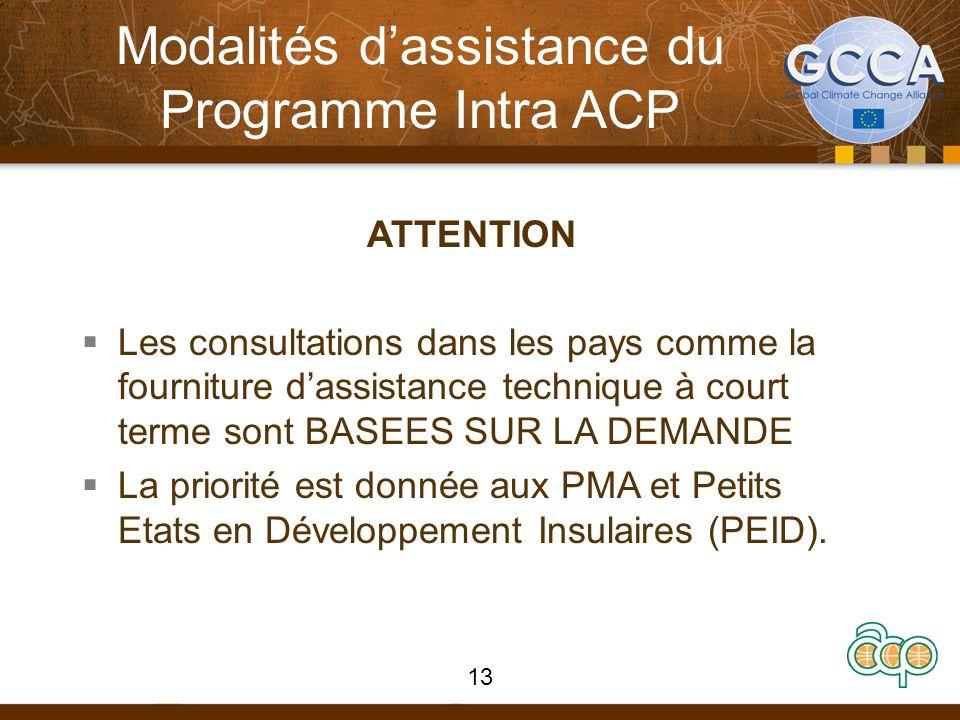 Modalités dassistance du Programme Intra ACP ATTENTION Les consultations dans les pays comme la fourniture dassistance technique à court terme sont BASEES SUR LA DEMANDE La priorité est donnée aux PMA et Petits Etats en Développement Insulaires (PEID).