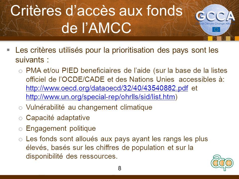 Critères daccès aux fonds de lAMCC Les critères utilisés pour la prioritisation des pays sont les suivants : o PMA et/ou PIED beneficiaires de laide (sur la base de la listes officiel de lOCDE/CADE et des Nations Unies accessibles à: http://www.oecd.org/dataoecd/32/40/43540882.pdf et http://www.un.org/special-rep/ohrlls/sid/list.htm) http://www.oecd.org/dataoecd/32/40/43540882.pdf http://www.un.org/special-rep/ohrlls/sid/list.htm o Vulnérabilité au changement climatique o Capacité adaptative o Engagement politique o Les fonds sont alloués aux pays ayant les rangs les plus élevés, basés sur les chiffres de population et sur la disponibilité des ressources.