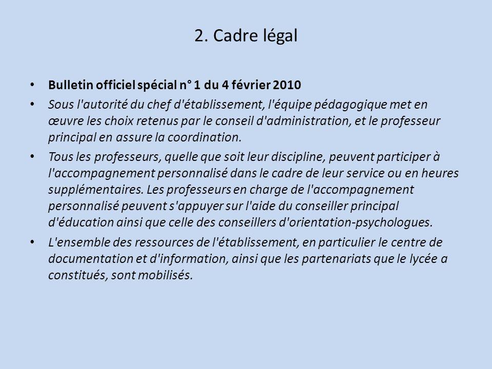2. Cadre légal Bulletin officiel spécial n° 1 du 4 février 2010 Sous l'autorité du chef d'établissement, l'équipe pédagogique met en œuvre les choix r