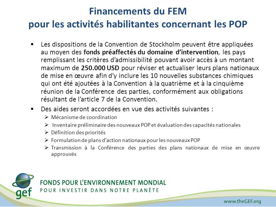 Financements du FEM pour les activités habilitantes concernant les POP Les dispositions de la Convention de Stockholm peuvent être appliquées au moyen