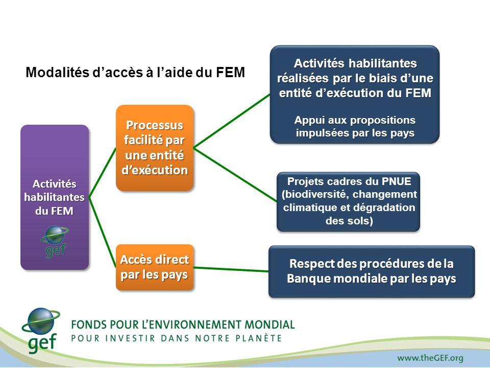 Activités habilitantes du FEM Processus facilité par une entité dexécution Accès direct par les pays Respect des procédures de la Banque mondiale par