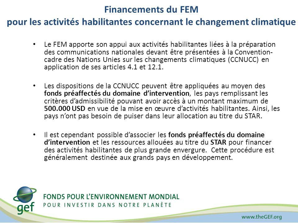 Financements du FEM pour les activités habilitantes concernant le changement climatique Le FEM apporte son appui aux activités habilitantes liées à la