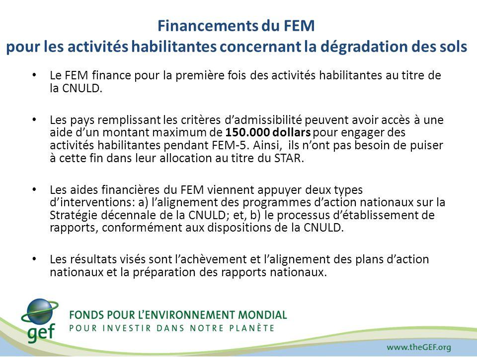 Financements du FEM pour les activités habilitantes concernant la dégradation des sols Le FEM finance pour la première fois des activités habilitantes au titre de la CNULD.