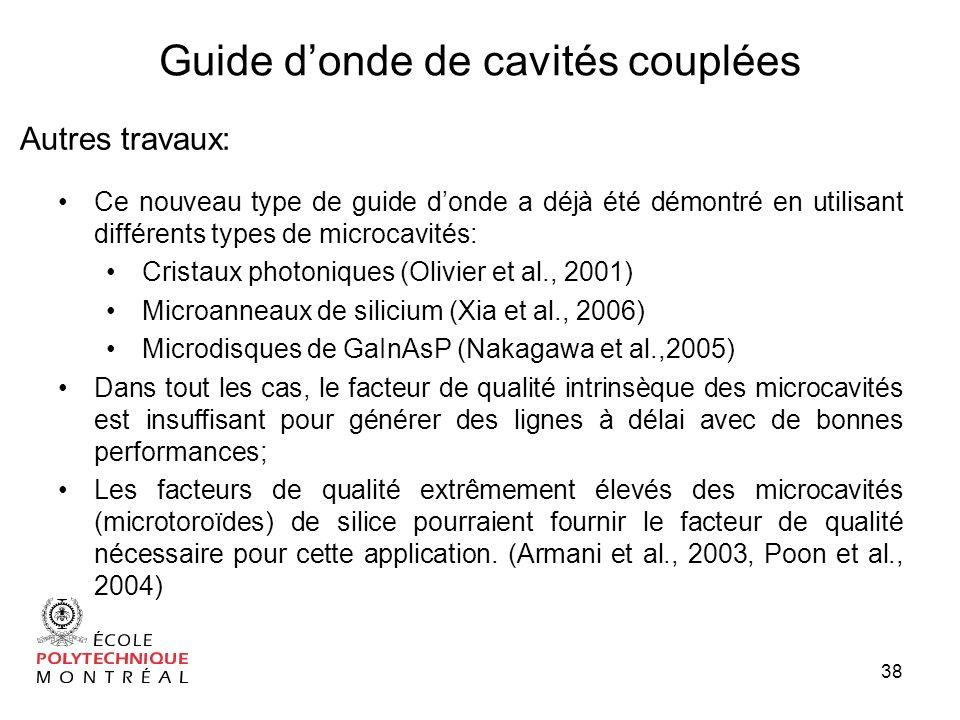 38 Guide donde de cavités couplées Autres travaux: Ce nouveau type de guide donde a déjà été démontré en utilisant différents types de microcavités: Cristaux photoniques (Olivier et al., 2001) Microanneaux de silicium (Xia et al., 2006) Microdisques de GaInAsP (Nakagawa et al.,2005) Dans tout les cas, le facteur de qualité intrinsèque des microcavités est insuffisant pour générer des lignes à délai avec de bonnes performances; Les facteurs de qualité extrêmement élevés des microcavités (microtoroïdes) de silice pourraient fournir le facteur de qualité nécessaire pour cette application.