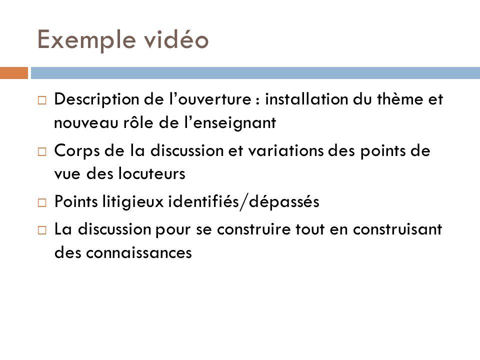 Exemple vidéo Description de louverture : installation du thème et nouveau rôle de lenseignant Corps de la discussion et variations des points de vue