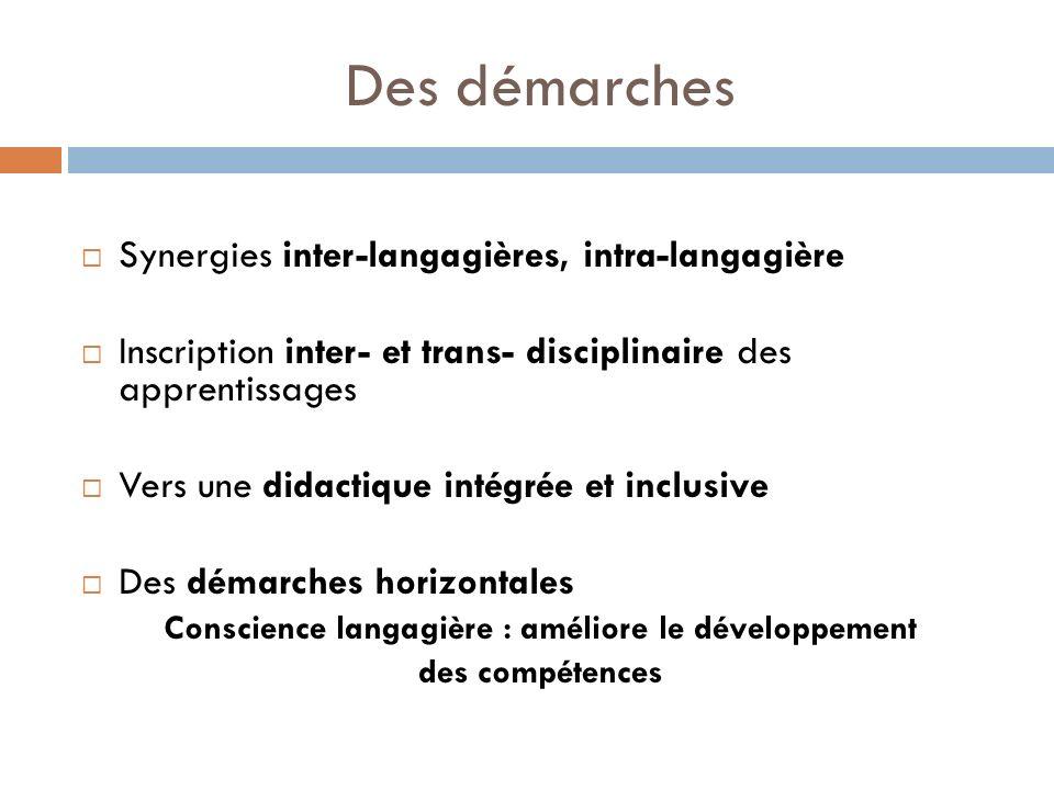 Des démarches Synergies inter-langagières, intra-langagière Inscription inter- et trans- disciplinaire des apprentissages Vers une didactique intégrée