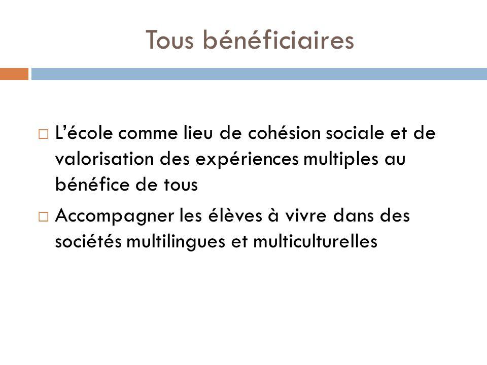 Tous bénéficiaires Lécole comme lieu de cohésion sociale et de valorisation des expériences multiples au bénéfice de tous Accompagner les élèves à viv