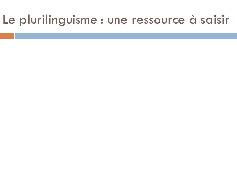 Le plurilinguisme : une ressource à saisir