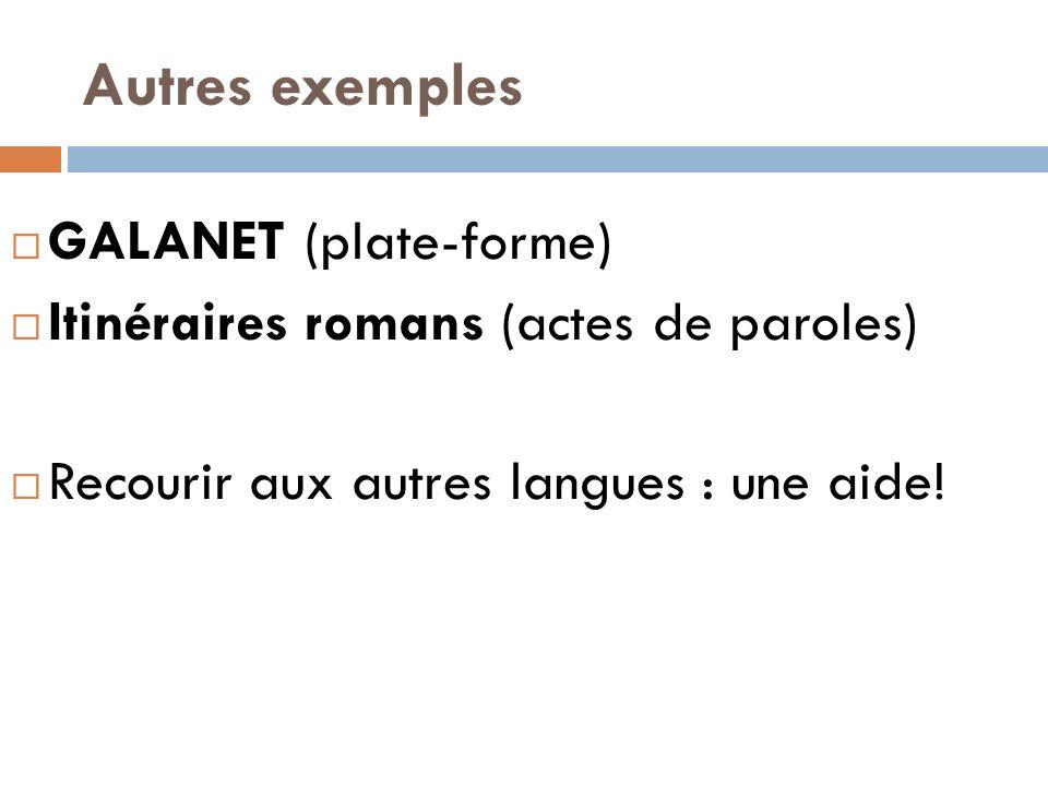 Autres exemples GALANET (plate-forme) Itinéraires romans (actes de paroles) Recourir aux autres langues : une aide!