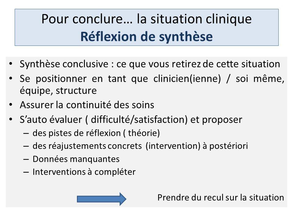 Pour conclure… la situation clinique Réflexion de synthèse Synthèse conclusive : ce que vous retirez de cette situation Se positionner en tant que cli