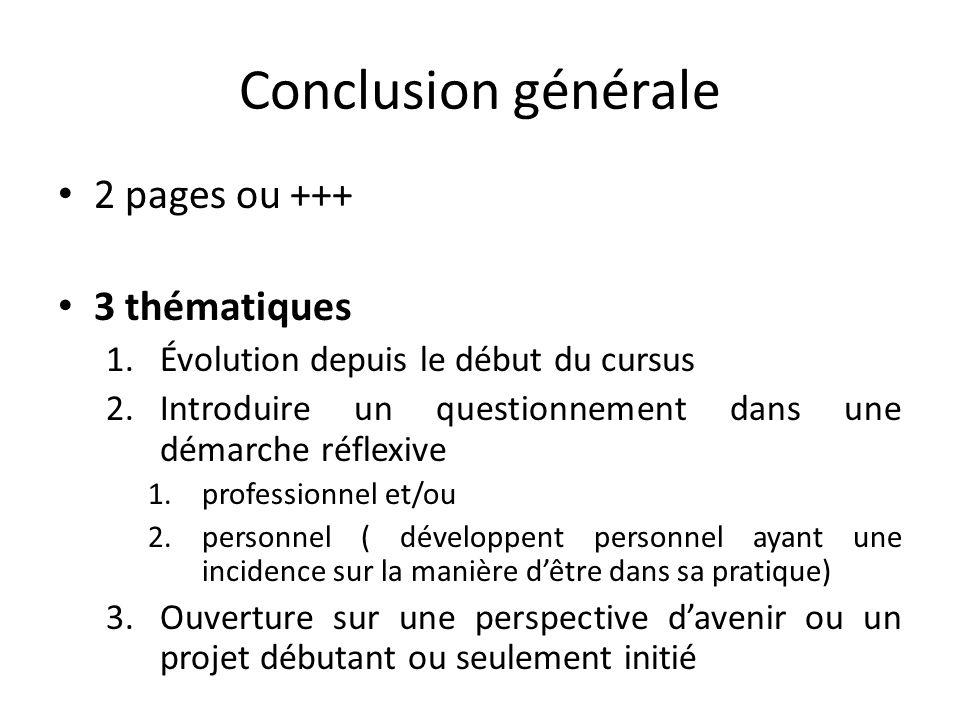 Conclusion générale 2 pages ou +++ 3 thématiques 1.Évolution depuis le début du cursus 2.Introduire un questionnement dans une démarche réflexive 1.pr