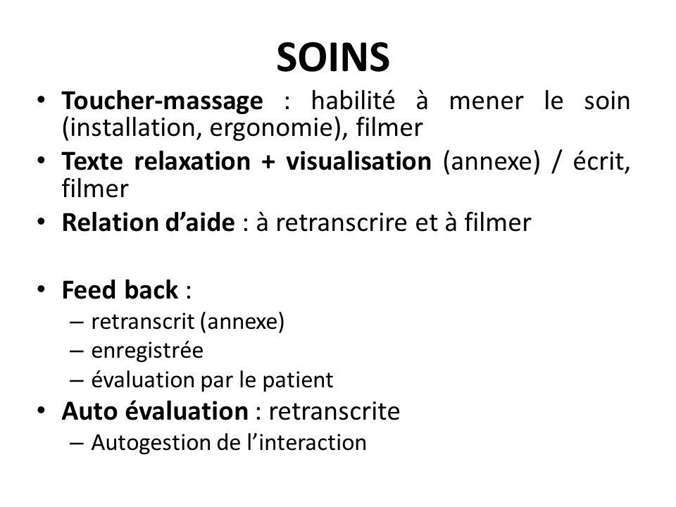 SOINS Toucher-massage : habilité à mener le soin (installation, ergonomie), filmer Texte relaxation + visualisation (annexe) / écrit, filmer Relation
