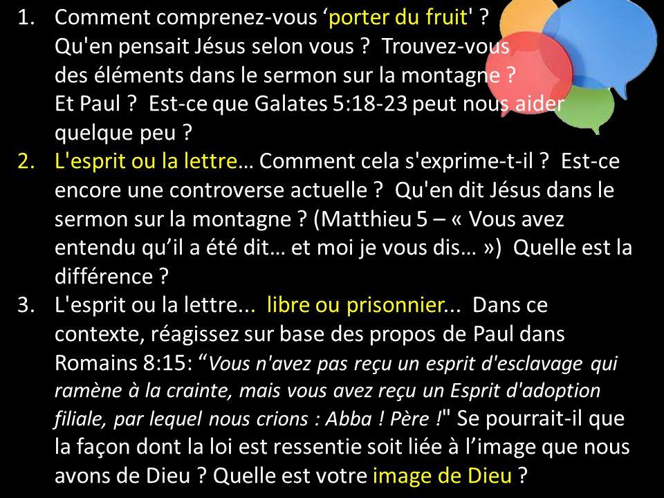 1.Comment comprenez-vous porter du fruit' ? Qu'en pensait Jésus selon vous ? Trouvez-vous des éléments dans le sermon sur la montagne ? Et Paul ? Est-