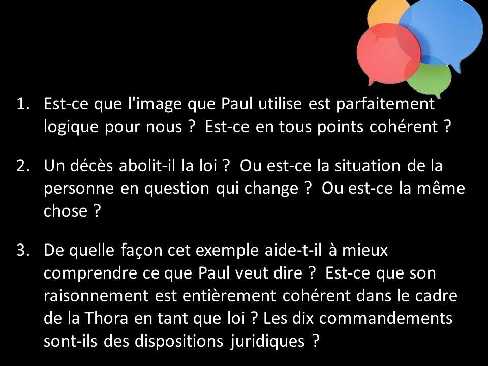 1.Est-ce que l'image que Paul utilise est parfaitement logique pour nous ? Est-ce en tous points cohérent ? 2.Un décès abolit-il la loi ? Ou est-ce la