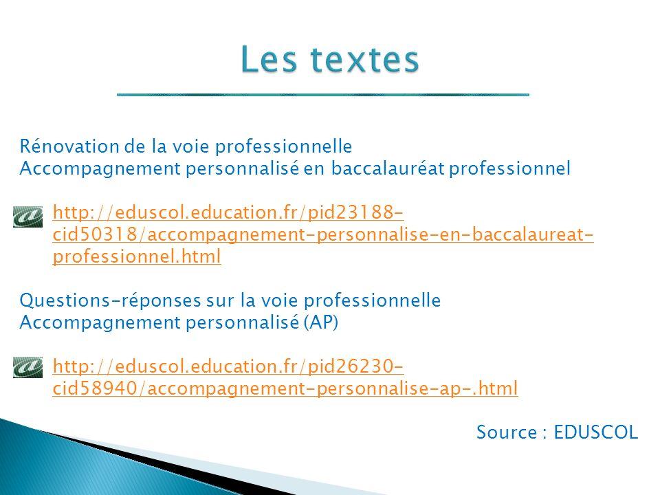 Rénovation de la voie professionnelle Accompagnement personnalisé en baccalauréat professionnel http://eduscol.education.fr/pid23188- cid50318/accompagnement-personnalise-en-baccalaureat- professionnel.html Questions-réponses sur la voie professionnelle Accompagnement personnalisé (AP) http://eduscol.education.fr/pid26230- cid58940/accompagnement-personnalise-ap-.html Source : EDUSCOL
