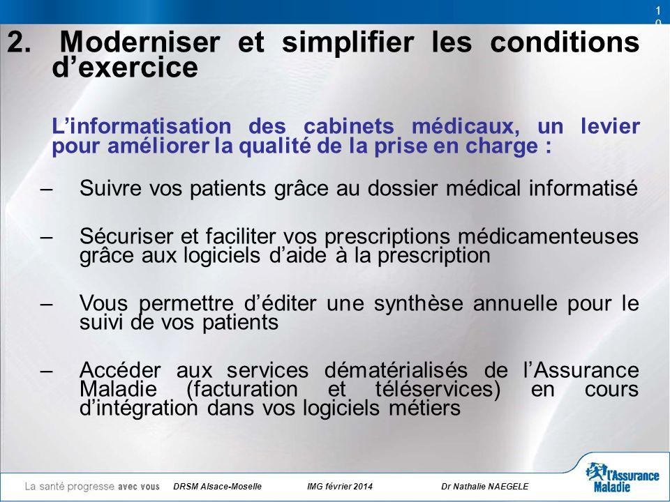 DRSM Alsace-Moselle IMG février 2014 Dr Nathalie NAEGELE 10 2. Moderniser et simplifier les conditions dexercice Linformatisation des cabinets médicau