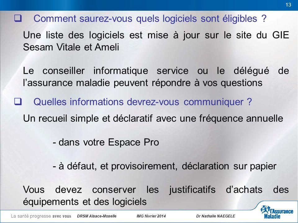 DRSM Alsace-Moselle IMG février 2014 Dr Nathalie NAEGELE 13 Comment saurez-vous quels logiciels sont éligibles ? Quelles informations devrez-vous comm