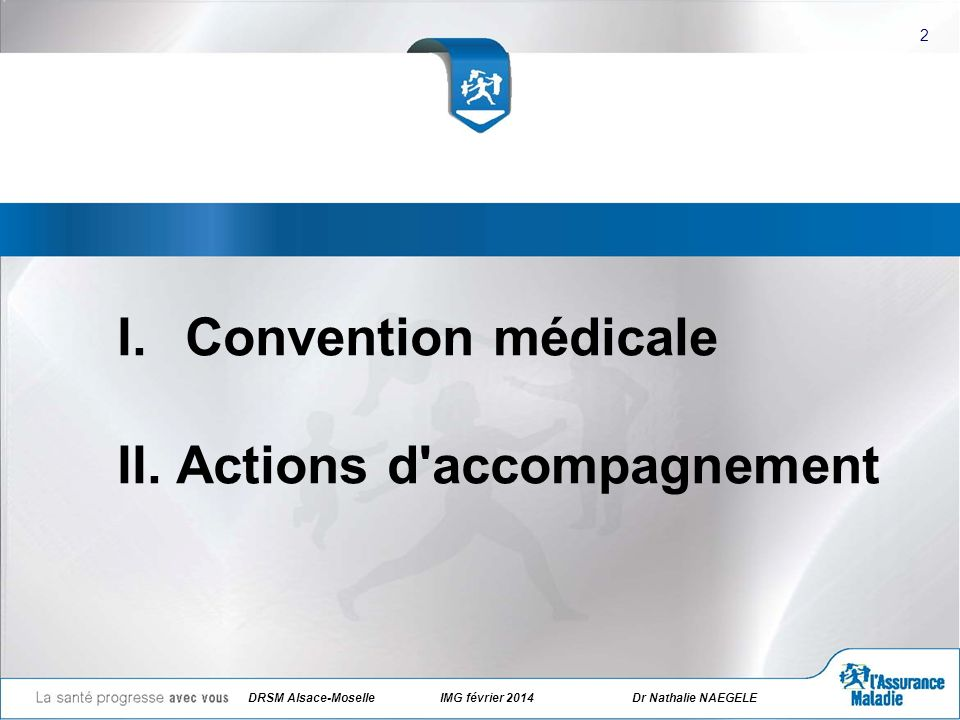 DRSM Alsace-Moselle IMG février 2014Dr Nathalie NAEGELE I.Convention médicale II. Actions d'accompagnement 2