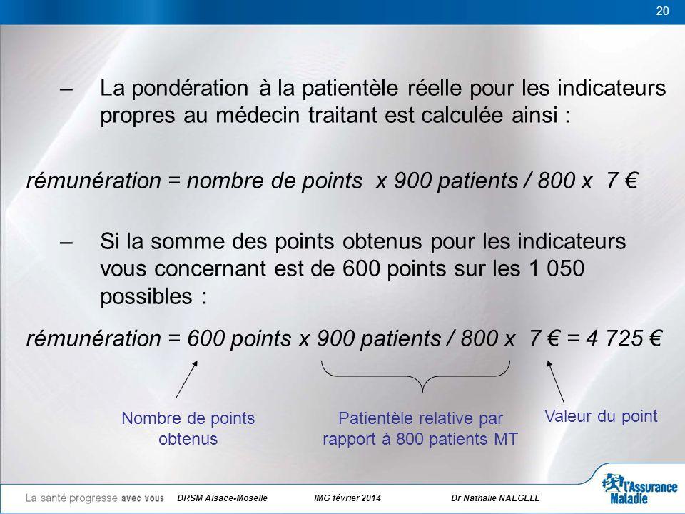 20 –La pondération à la patientèle réelle pour les indicateurs propres au médecin traitant est calculée ainsi : rémunération = nombre de points x 900