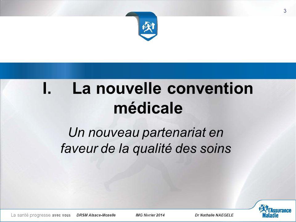 DRSM Alsace-Moselle IMG février 2014 Dr Nathalie NAEGELE 4 La convention a été signée le 26 juillet 2011 par trois syndicats représentatifs (CSMF, MG France, SML) et lAssurance Maladie pour 5 ans.