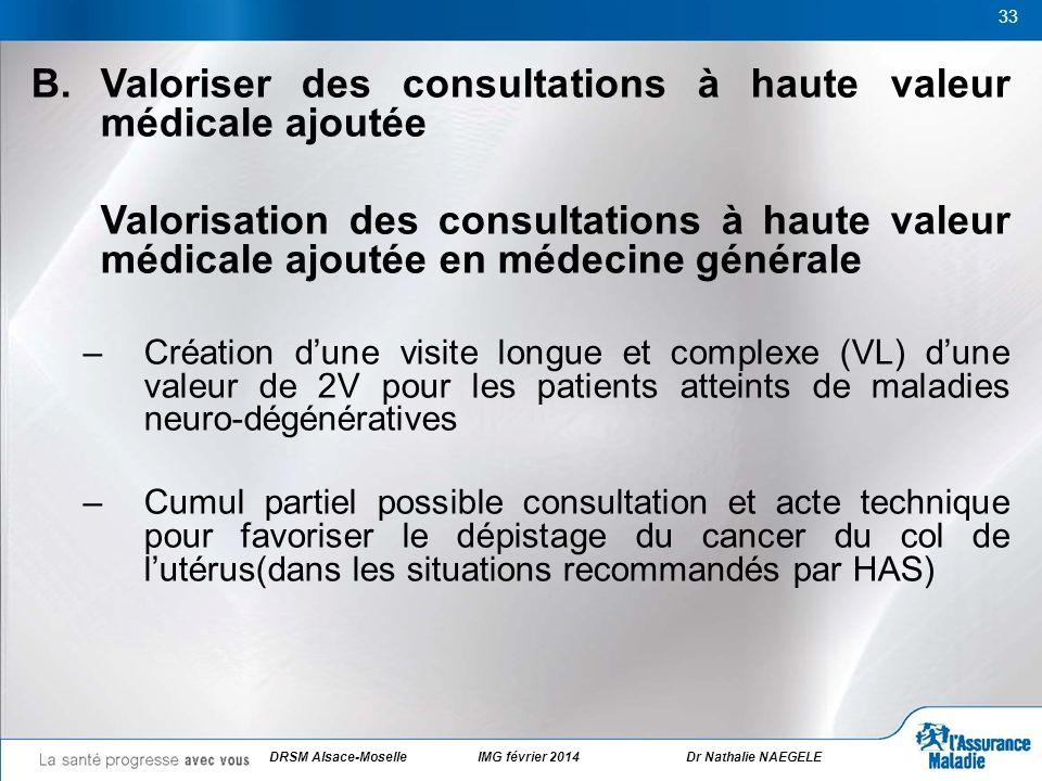 33 B. Valoriser des consultations à haute valeur médicale ajoutée Valorisation des consultations à haute valeur médicale ajoutée en médecine générale