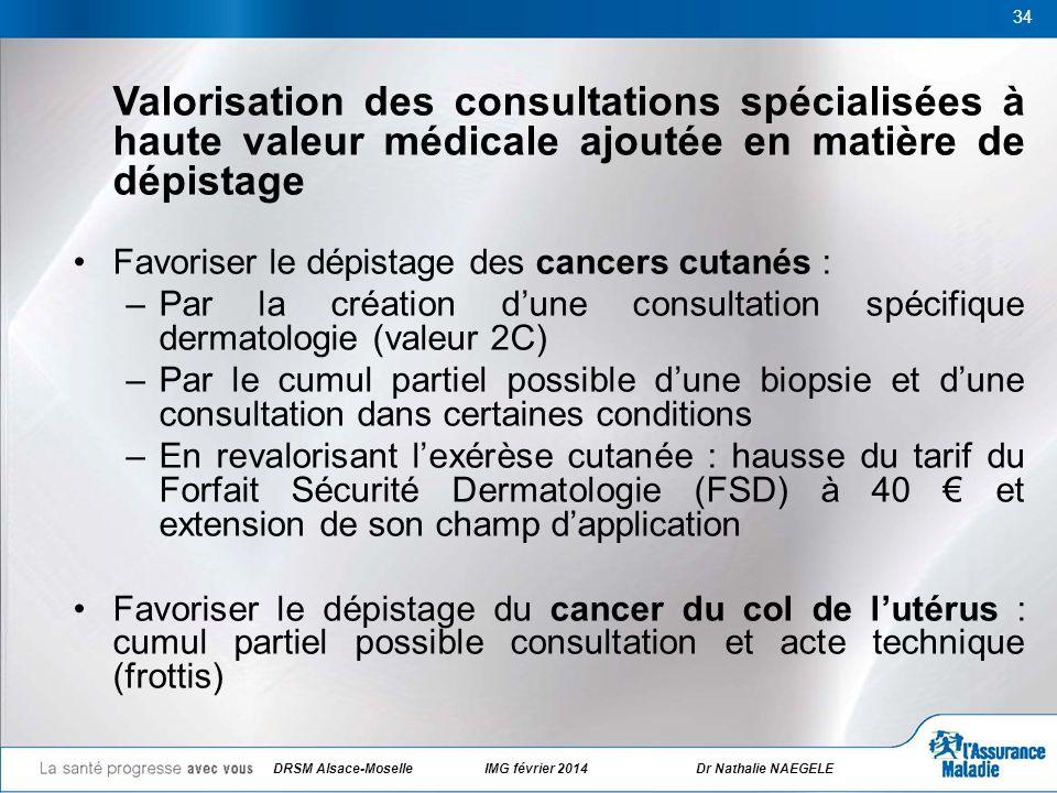 34 Valorisation des consultations spécialisées à haute valeur médicale ajoutée en matière de dépistage Favoriser le dépistage des cancers cutanés : –P