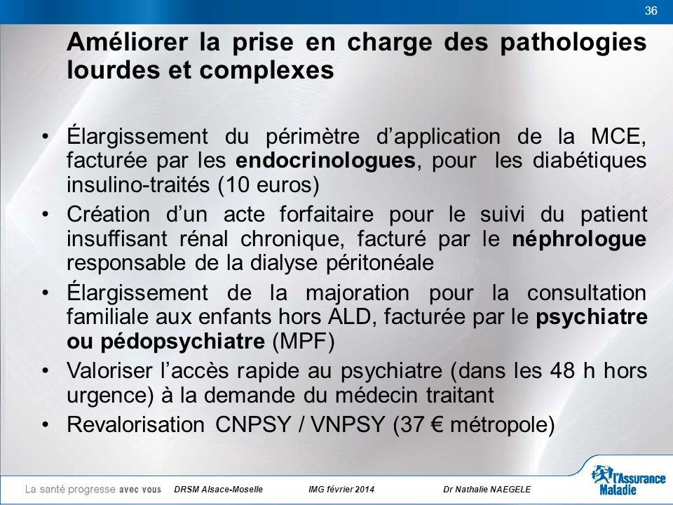 36 Améliorer la prise en charge des pathologies lourdes et complexes Élargissement du périmètre dapplication de la MCE, facturée par les endocrinologu