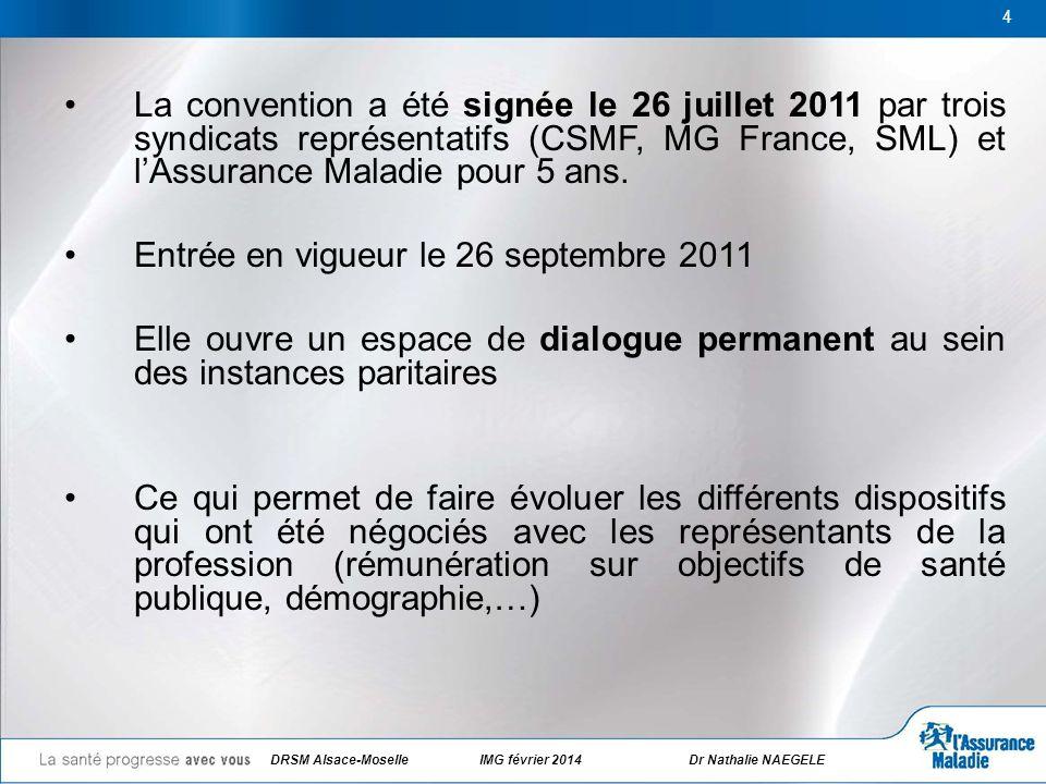 DRSM Alsace-Moselle IMG février 2014 Dr Nathalie NAEGELE 4 La convention a été signée le 26 juillet 2011 par trois syndicats représentatifs (CSMF, MG