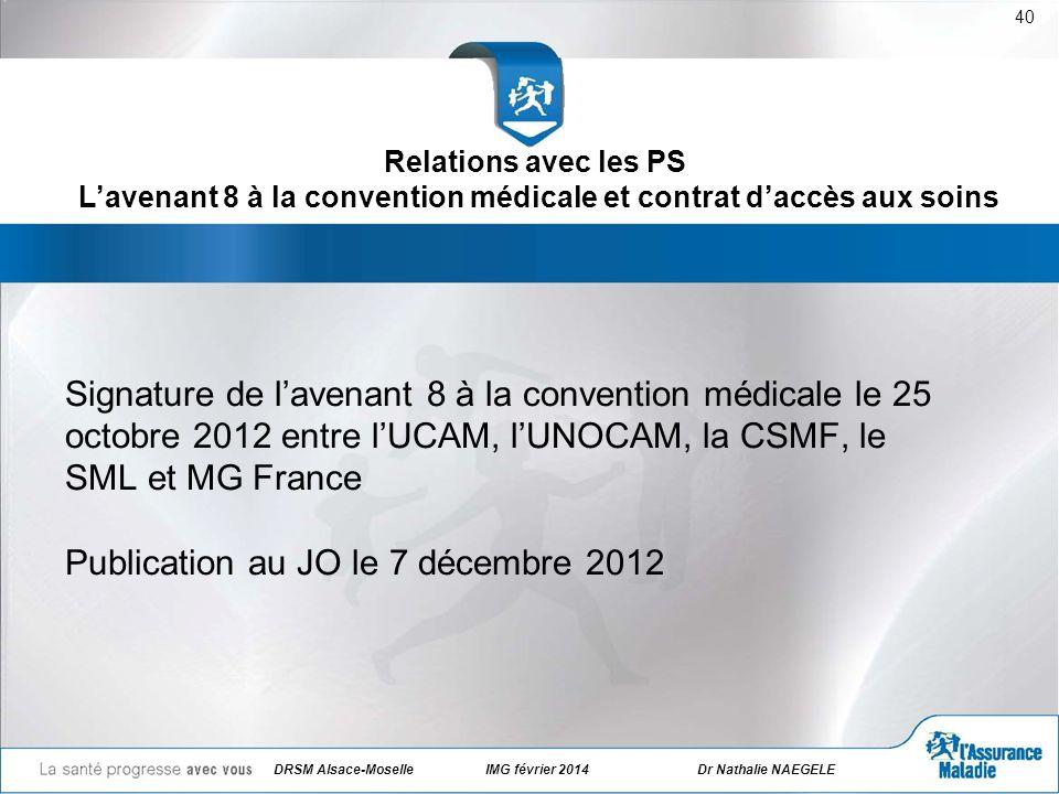 DRSM Alsace-Moselle IMG février 2014Dr Nathalie NAEGELE 40 Signature de lavenant 8 à la convention médicale le 25 octobre 2012 entre lUCAM, lUNOCAM, l