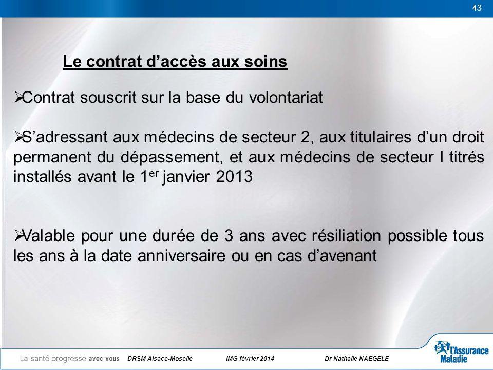 43 Le contrat daccès aux soins Contrat souscrit sur la base du volontariat Sadressant aux médecins de secteur 2, aux titulaires dun droit permanent du