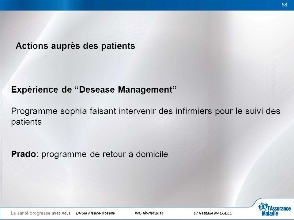 58 Actions auprès des patients Expérience de Desease Management Programme sophia faisant intervenir des infirmiers pour le suivi des patients Prado: p