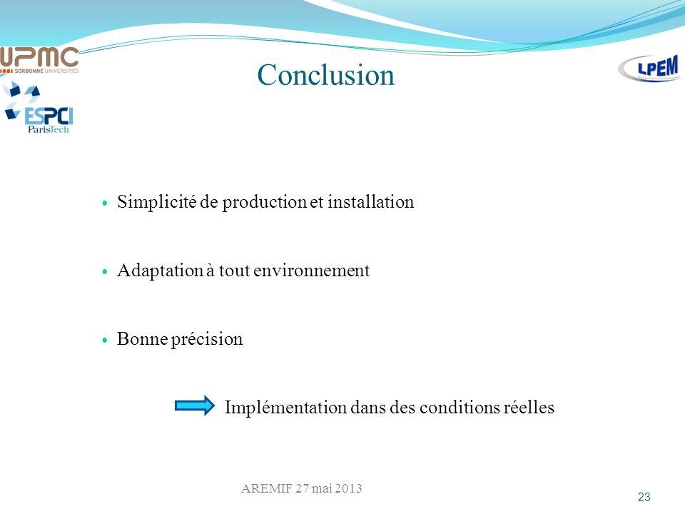 Conclusion Simplicité de production et installation Adaptation à tout environnement Bonne précision Implémentation dans des conditions réelles 23 AREM