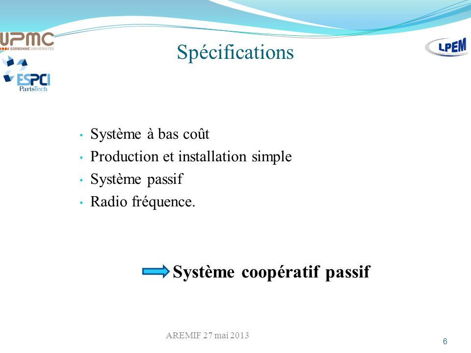 Spécifications Système à bas coût Production et installation simple Système passif Radio fréquence. Système coopératif passif 6 AREMIF 27 mai 2013