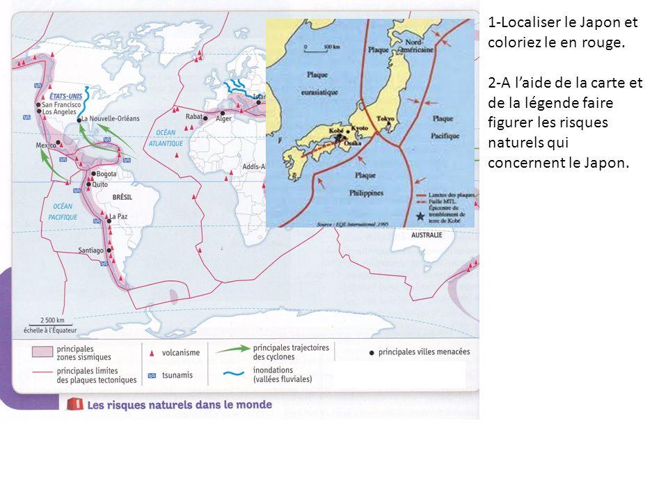 1-Localiser le Japon et coloriez le en rouge. 2-A laide de la carte et de la légende faire figurer les risques naturels qui concernent le Japon.