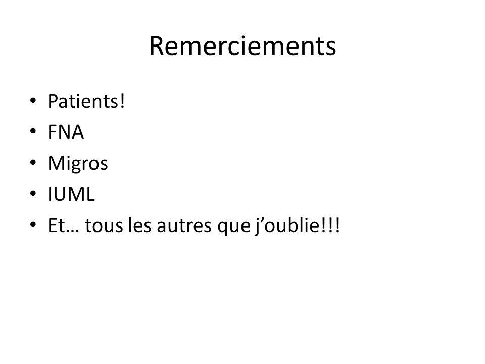 Remerciements Patients! FNA Migros IUML Et… tous les autres que joublie!!!