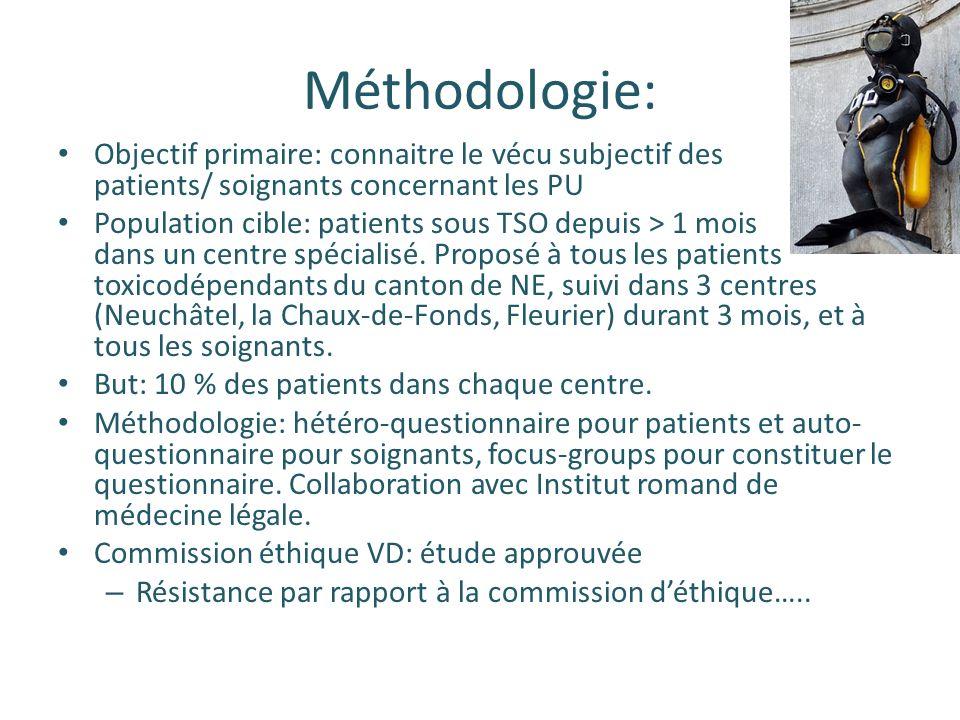 Méthodologie: Objectif primaire: connaitre le vécu subjectif des patients/ soignants concernant les PU Population cible: patients sous TSO depuis > 1 mois dans un centre spécialisé.