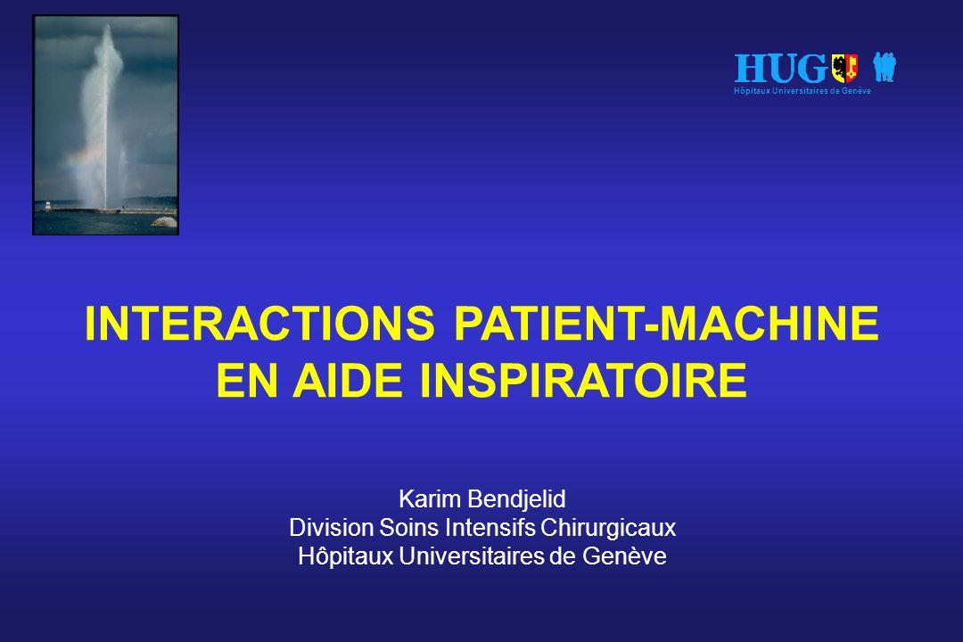 INTERACTIONS PATIENT-MACHINE EN AIDE INSPIRATOIRE Karim Bendjelid Division Soins Intensifs Chirurgicaux Hôpitaux Universitaires de Genève