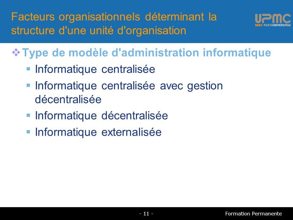 Facteurs organisationnels déterminant la structure d'une unité d'organisation Type de modèle d'administration informatique Informatique centralisée In