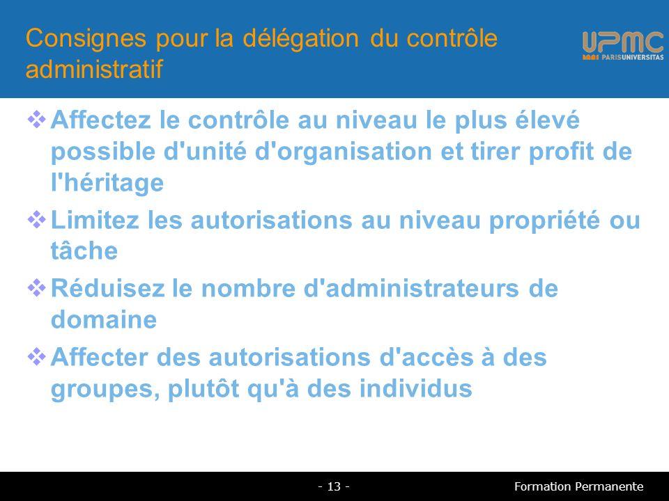 Consignes pour la délégation du contrôle administratif Affectez le contrôle au niveau le plus élevé possible d'unité d'organisation et tirer profit de