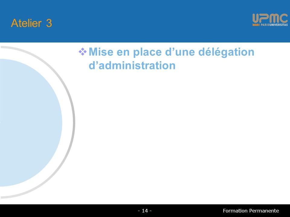 Atelier 3 Mise en place dune délégation dadministration - 14 -Formation Permanente
