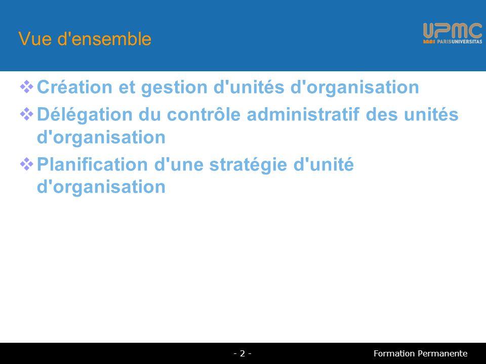 Vue d'ensemble Création et gestion d'unités d'organisation Délégation du contrôle administratif des unités d'organisation Planification d'une stratégi