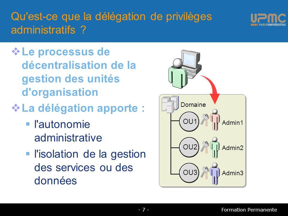 Tâches d administration pour unités d organisation Dans une unité d organisation, vous pouvez : modifier les propriétés d un conteneur créer et supprimer des objets d un type particulier mettre à jour les propriétés d objets d un type spécifique - 8 -Formation Permanente