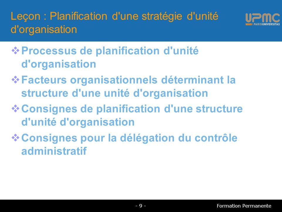Processus de planification d unité d organisation Documentez la structure existante de l organisation Identifiez les domaines à améliorer Déterminez le niveau d administration Identifiez chaque administrateur et compte d utilisateur dans votre organisation ainsi que les ressources qu ils administrent - 10 -Formation Permanente
